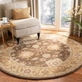 Hand-made Farahan Brown/ Taupe Hand-spun Wool Rug (4&#39; Round)