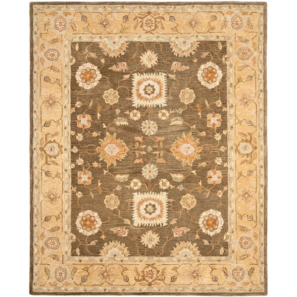 Safavieh Hand-made Farahan Brown/ Taupe Hand-spun Wool Rug (8' x 10')