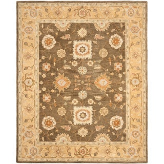 Hand-made Farahan Brown/ Taupe Hand-spun Wool Rug (9' x 12')