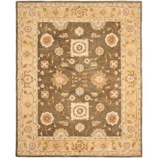 Hand-made Farahan Brown/ Taupe Hand-spun Wool Rug (9' x 12')
