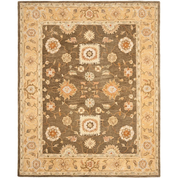 Safavieh Hand-made Farahan Brown/ Taupe Hand-spun Wool Rug (9' x 12')