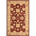 Hand-made Farahan Red/ Sage Hand-spun Wool Rug (5' x 8')