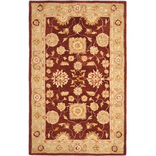 Safavieh Hand-made Farahan Red/ Sage Hand-spun Wool Rug (6' x 9')
