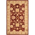 Hand-made Farahan Red/ Sage Hand-spun Wool Rug (6' x 9')