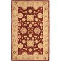 Safavieh Hand-made Farahan Red/ Sage Hand-spun Wool Rug (6' x 9')