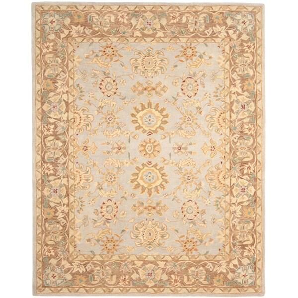 Safavieh Hand-made Antiquities Teal/ Brown Hand-spun Wool Rug (9' x 12')