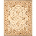 Hand-made Silver/ Light Brown Hand-spun Wool Rug (4' x 6')