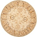 Hand-made Silver/ Light Brown Hand-spun Wool Rug (6' Round)