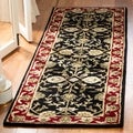 Handmade Heritage Treasures Black/ Red Wool Rug (2'3 x 8')