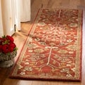 Handmade Heritage Tree of Life Red Wool Rug (2'3 x 8')