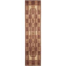 Hand-knotted Selaro Grids Brown/ Beige Wool Rug (2'3 x 9'6)
