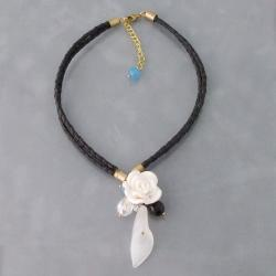 White Rose Goddess Clear Quartz Stone Leather Necklace (Thailand)