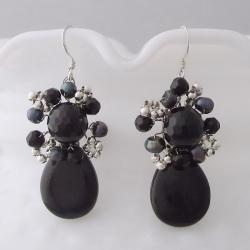 Handmade Drop Teardrop Black Onyx Pearl Silver Earrings (Thailand)