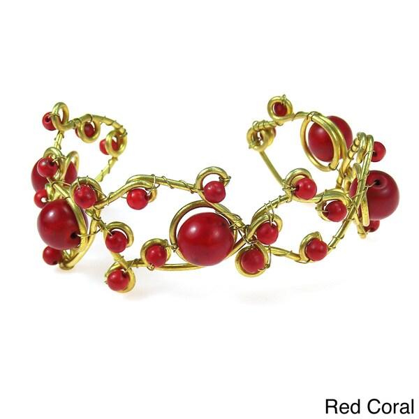 Brass Open Swirl Multi-gemstone Cuff Bracelet (Thailand)