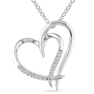 M by Miadora Sterling Silver White Diamond Double Heart Pendant Necklace with Bonus Earrings
