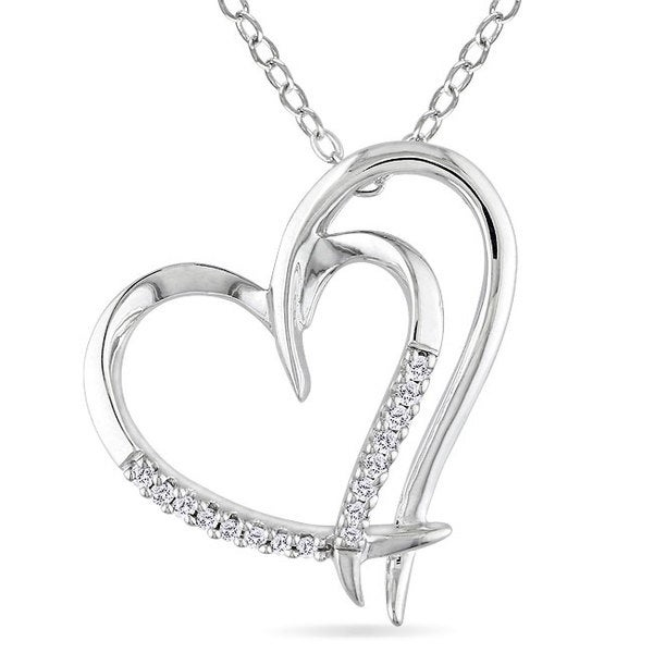 Sterling Silver White Diamond Double Heart Pendant Necklace
