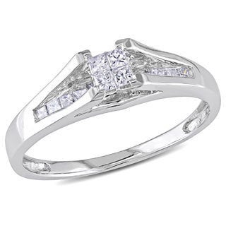Miadora 10k White Gold 1/3ct TDW Princess-cut Diamond Ring (H-I, I2-I3)