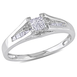 Miadora 10k White Gold 1/3ct TDW Princess-cut Diamond Ring (H-I, I2-I3) with Bonus Earrings