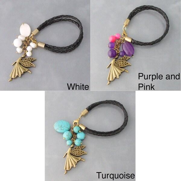 Sweet Fairy Colored Gemstone Genuine Leather Bracelet (Thailand)