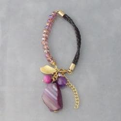 Genuine Leather-Crystal Medley Purple Agate Bracelet (Thailand)