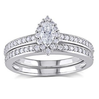 Miadora 14k White Gold 3/4ct TDW Diamond Bridal Ring Set (H-I, I1-I2)