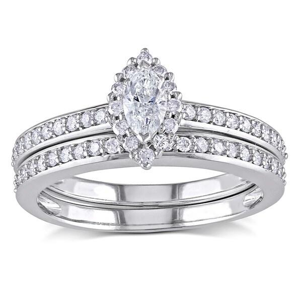 Miadora 14k White Gold 3/4ct TDW Diamond Bridal Ring Set (H-I, I1-I2)