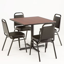 Dark Cherry Reversible Commercial 5-piece Dining Set
