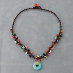 Blue Turquoise Round Harmony Mixed Stone Necklace (Thailand)