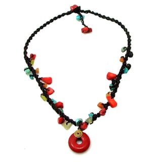 Red Coral Round Harmony Mixed Stone Necklace (Thailand)