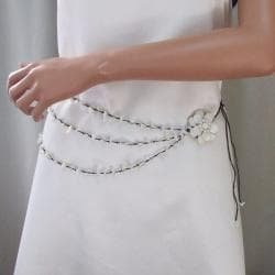 Sweet White Lotus Triple Layer Mother of Pearl Necklace/ Belt (Thailand)