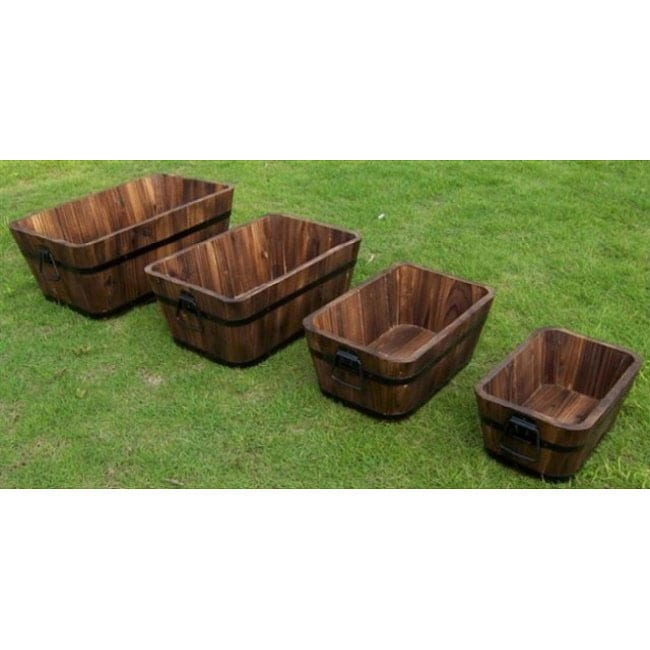 Cedar Wood Rectangular Planters (Set of 4)