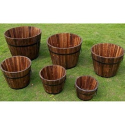 Round Cedar Wood Whiskey Barrel Planters (Set of 6)