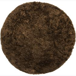 Handwoven Dark Chocolate-Brown Mandara Shag Rug (7'9 Round)