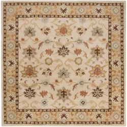 Hand-tufted Traditional Sisseton Vanilla Floral Border Wool Rug (9'9 Square)