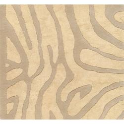 Candice Olson Hand-tufted Tan Zebra Animal Print Lennox Wool Rug (9' x 13')