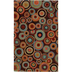 Hand-tufted Contemporary Multi Colored Circles Geometric Beresford New Zealand Wool Rug (9' x 13')
