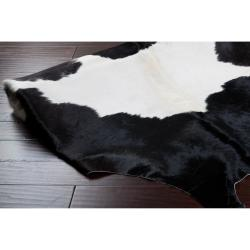 Hand-crafted Wagner Black/White Leather Cowhide Rug (7' Square)