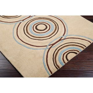 Hand-tufted Beige Contemporary Circles Parkston Wool Geometric Rug (6' x 9')