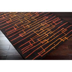 Noah Packard Hand-tufted Dark Brown/Orange Contemporary Onida New Zealand Wool Abstract Rug (5' x 8'