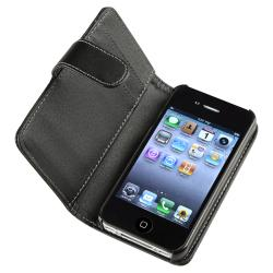 Black Wallet Leather Case for Apple iPhone 4 AT&T/ Verizon