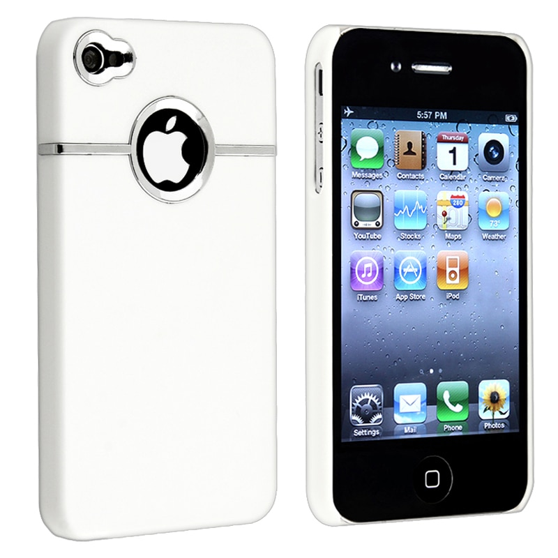 White with Chrome Hole Snap-on Rubber Case for Apple iPhone 4/ 4S