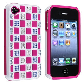 Hot Pink TPU/ White Hard Hybrid Diamond Case for Apple iPhone 4/ 4S
