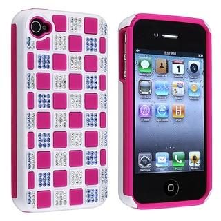 Hot Pink TPU/ White Hard Hybrid Diamond Case for Apple iPhone 4/ 4S