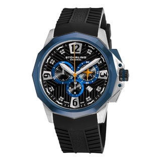 Stuhrling Original Men's Commander Swiss Quartz Chronograph Watch with Blue Bezel