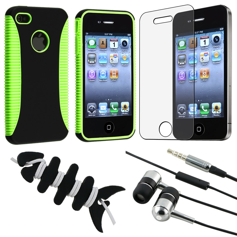 Green Hybrid Case/ LCD Protector/ Headset/ Wrap for Apple iPhone 4S