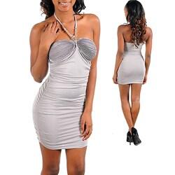Stanzino Women's Silver Strapless Halter Dress