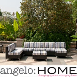 angelo:HOME Napa Springs Newport Stripe 6 Piece Indoor/Outdoor Wicker Furniture Set