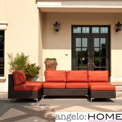 angelo:HOME Napa Springs Red Tulip 4 Piece Indoor/Outdoor Wicker Furniture Set