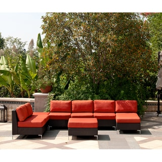 angelo:HOME Napa Springs Red Tulip 6 Piece Indoor/Outdoor Wicker Furniture Set