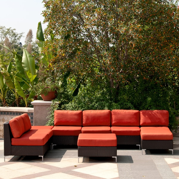 Angelo home napa springs red tulip 6 piece indoor outdoor wicker furniture set 14032379 Angelo home patio furniture